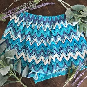 Blue and White Woven Chevron Shorts